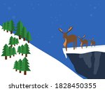 Reindeer On A Mountain At Dusk