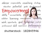young business woman writing... | Shutterstock . vector #182845946