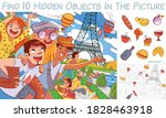 friends in paris against the... | Shutterstock .eps vector #1828463918