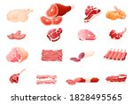 meat products flat vector... | Shutterstock .eps vector #1828495565
