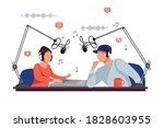 radio dj man and woman vector.... | Shutterstock .eps vector #1828603955