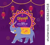 up to 50  offer for diwali sale ... | Shutterstock .eps vector #1828612418