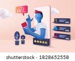 funny cart 3d rendering sale... | Shutterstock .eps vector #1828652558