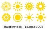 cartoon sun icons set. flat... | Shutterstock .eps vector #1828653008