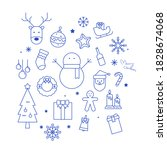 christmas icons line outline...   Shutterstock .eps vector #1828674068
