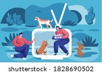 woman squatted down  feeding... | Shutterstock .eps vector #1828690502