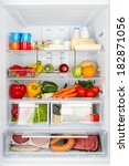 open refrigerator filled with... | Shutterstock . vector #182871056