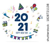 happy new year 2021 logo with... | Shutterstock .eps vector #1828721138