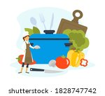 woman chef cooking healthy... | Shutterstock .eps vector #1828747742