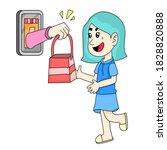 women receive goods from the... | Shutterstock .eps vector #1828820888