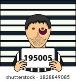 prisoner in front of wall with... | Shutterstock .eps vector #1828849085