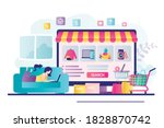 cute woman lies with laptop on... | Shutterstock .eps vector #1828870742