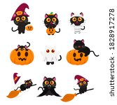 set of cute black cat wearing... | Shutterstock .eps vector #1828917278