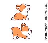 cute cartoon dog doing yoga.... | Shutterstock .eps vector #1828968302