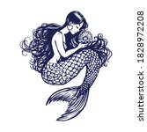 beautiful young mermaid with... | Shutterstock .eps vector #1828972208