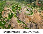 Aerial view of Gudibande Fort. This 400 year old fort is situated 100kms from Bangalore, India and has an elevation of 826 meters.