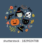background for halloween with a ... | Shutterstock .eps vector #1829024708