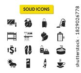 hotel icons set with suitcase ...