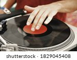 Dj Hand On Black Record With...