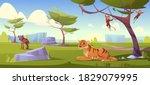 savannah landscape with tiger ... | Shutterstock .eps vector #1829079995