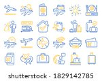 airport line icons. boarding... | Shutterstock .eps vector #1829142785