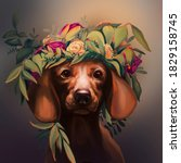 Portrait Of A Dog In A Wreath...