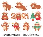 cute ox. color bulls chinese... | Shutterstock . vector #1829195252