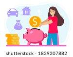 Putting Money Piggy Bank...