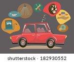 retro cartoon car with car... | Shutterstock .eps vector #182930552