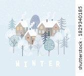 cute winter landscape. winter... | Shutterstock .eps vector #1829340185