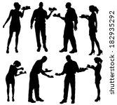 vector waiter silhouette on a... | Shutterstock .eps vector #182935292