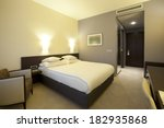 Stock photo hotel room interior in the evening 182935868