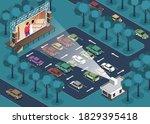 isometric open air cinema... | Shutterstock .eps vector #1829395418