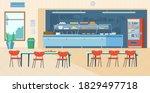 school canteen interior.... | Shutterstock .eps vector #1829497718