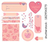 valentine's day set of design... | Shutterstock . vector #182954375