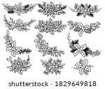 set of christmas wreath.... | Shutterstock .eps vector #1829649818