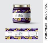 plum jam label and packaging.... | Shutterstock .eps vector #1829773922