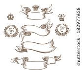vintage ribbon bow banners ... | Shutterstock .eps vector #182977628