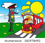 red school bus with children... | Shutterstock .eps vector #182978492