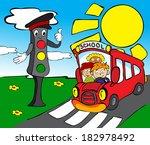 red school bus with children... | Shutterstock .eps vector #182978492