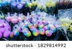 rainbow flowers in a florist. | Shutterstock . vector #1829814992