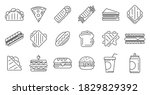 sandwich bar icons set. outline ... | Shutterstock .eps vector #1829829392