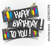 happy birthday to you greeting... | Shutterstock .eps vector #182983298