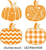 4 Patterned Pumpkins   Chevron  ...