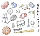hand drawn sport icon set | Shutterstock . vector #182993342