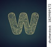 Letter W Design With Golden...