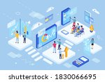 3d ismotery of virtual learning ... | Shutterstock .eps vector #1830066695