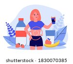 happy woman drinking milk and... | Shutterstock .eps vector #1830070385