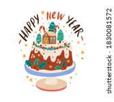 christmas card with homemade... | Shutterstock .eps vector #1830081572