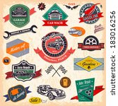 set of retro vintage car labels | Shutterstock .eps vector #183016256